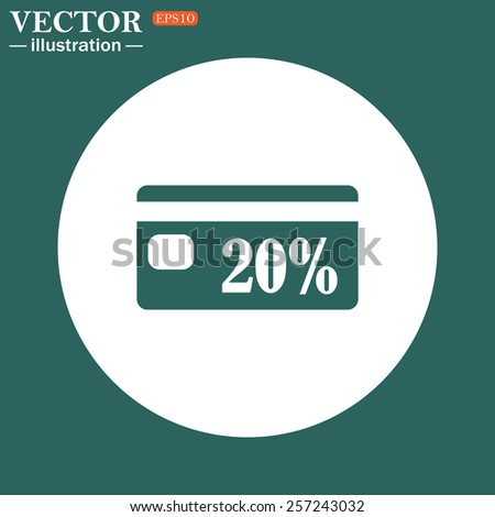The green icon on a white circle on a green background. Discount label, vector illustration, EPS 10 - stock vector