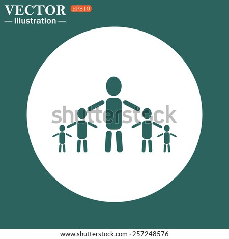 The green icon on a white circle on a green background. kids silhouette family , vector illustration, EPS 10