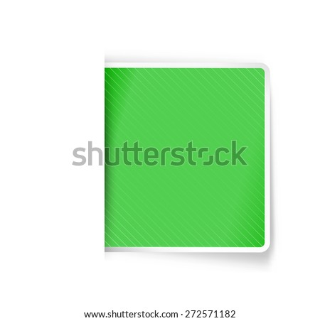 the green label / the green blank label with hidden edge effect/ the tag - stock vector