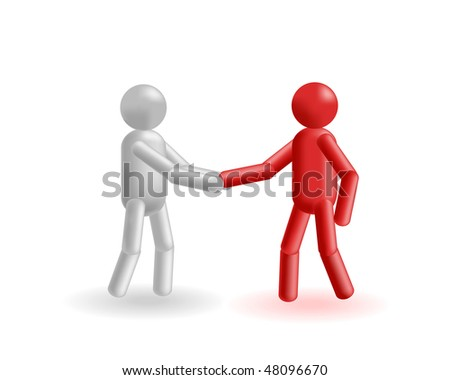 The grey and red man exchange strong hand shake