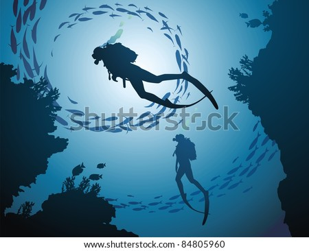 The group of divers rises from depth of ocean - stock vector