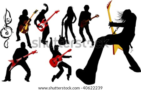 The guitarist plays solo party a guitar; - stock vector