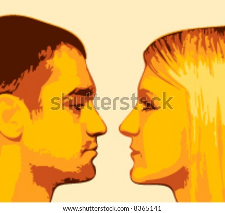The guy and  girl on a yellow background - stock vector