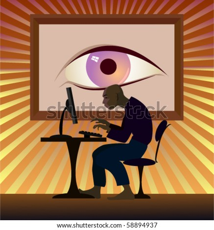 The hacker works behind the computer - stock vector
