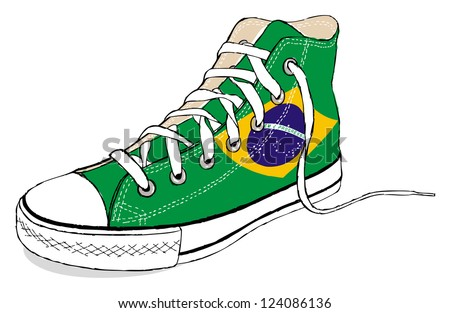 The hand draw vector modern sport shoes with Brazil flag - stock vector