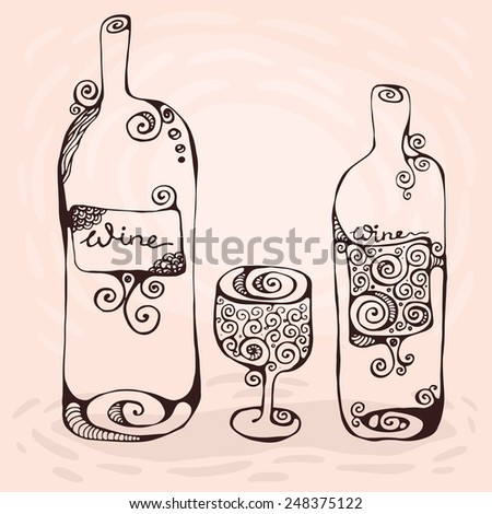 The hand-drawn decorative illustration of the wineglass and two bottles of wine - stock vector