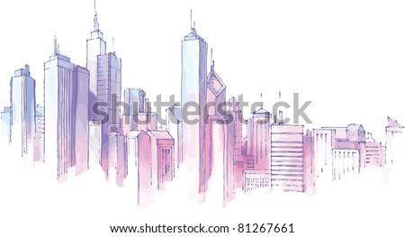 The hand-drown city skyline in a pastel shades. - stock vector