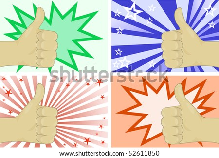 The hand gesture representing fine on four different backgrounds