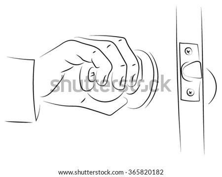 Hand Holding Door Handle Opens Path Stock Vector 365820152