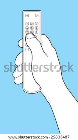 The hand holds Remote control TV. Separately images of a hand and remote control TV - stock vector