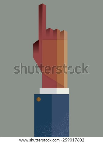 The hand touching. Solution concept. Vector illustration. - stock vector
