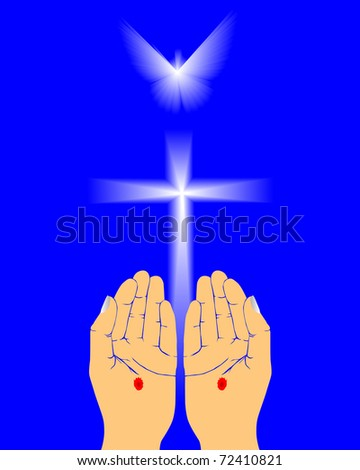 the hands of Jesus on a blue background - stock vector