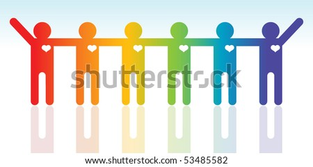 The Happiness multi ethnic people silhouettes - stock vector