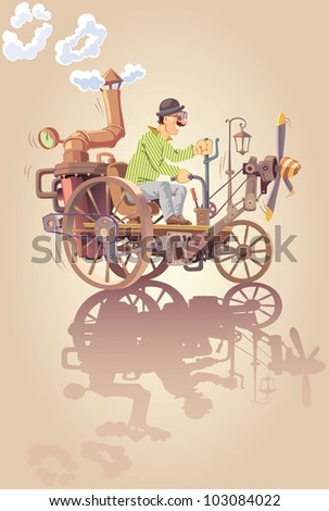The happy inventor is riding his own oldschool steam car with a propeller. - stock vector