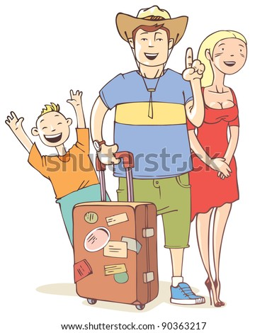 The happy tourist's family - father, mother and their little son are ready to vacation. - stock vector
