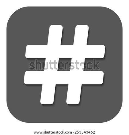 The hash icon. Hashtag symbol. Flat Vector illustration. Button - stock vector