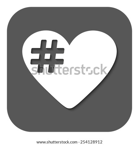 The hash love icon. Hashtag heart symbol. Flat Vector illustration. Button - stock vector