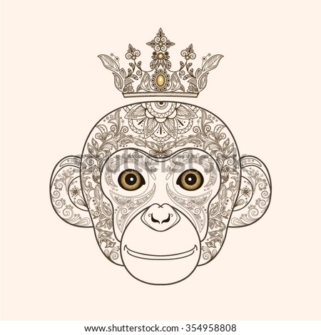 The Head Of A Beautiful Monkey With Floral Ornament And Crown On White Background