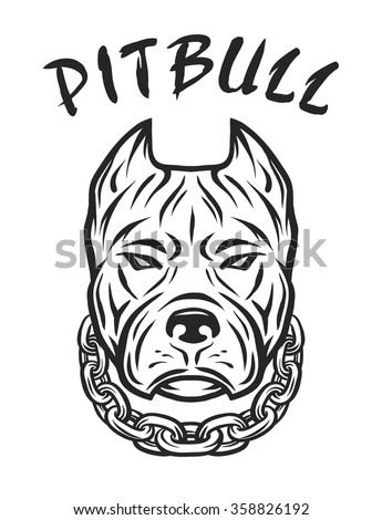 The head of a pit bull with a collar. - stock vector
