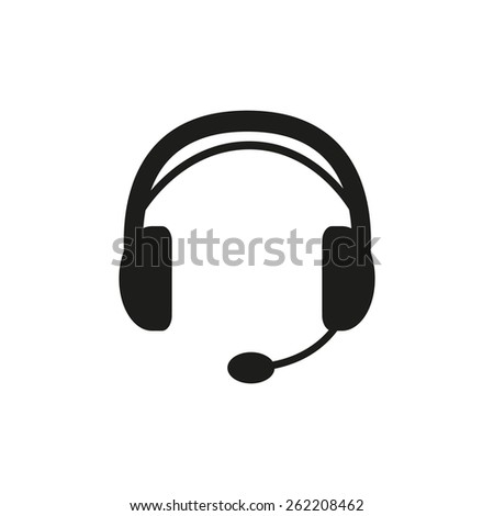 The headset icon. Support symbol. Flat Vector illustration - stock vector
