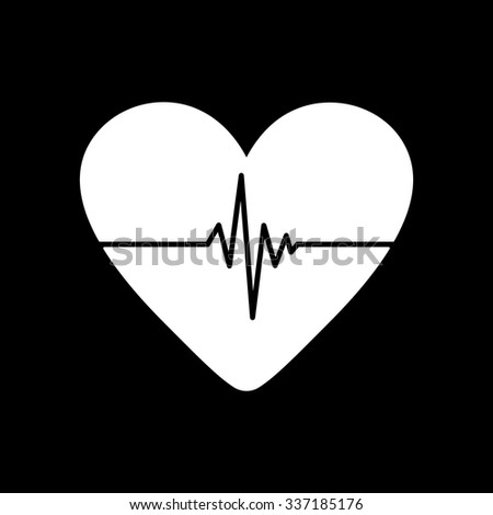 The heart and cardiogram icon. Heart and cardiogram symbol. Flat Vector illustration - stock vector
