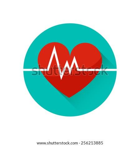 Heart Cardiogram Vector Icon Symbol Life Stock Vector 2018