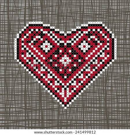 The heart in Ukrainian ethnic embroidery style on canvas texture. Canvas background may be used as seamless pattern. - stock vector