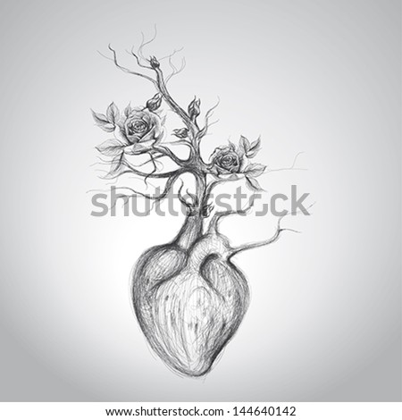 The heart is in blossom / Surreal romantic sketch - stock vector
