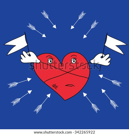 the heart is protected from the arrows - stock vector