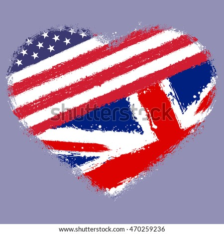 the heart of the American and British symbol. grunge vector