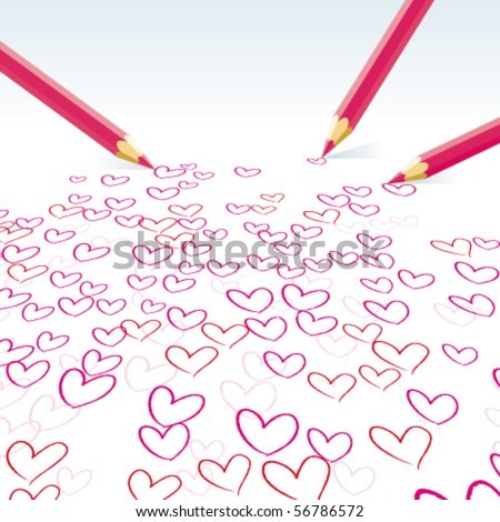 The hearts drawn by pencils - stock vector
