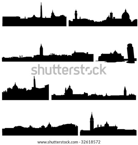 The high-rise buildings in Italian Well-known cities - stock vector