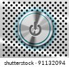 The highlighted Power Button on the perforated metal background - stock vector