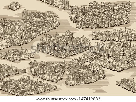 The history we never had. Map. - stock vector