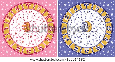 The Horoscope circle with  Zodiac signs and constellations of the zodiac.Inside are sun and moon.Retro style.Horoscope for man and womanVector illustration