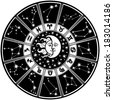 The Horoscope circle with  Zodiac signs and constellations of the zodiac.Inside the symbol of the sun and moon.Retro style.Black and white colors.Vector illustration - stock photo