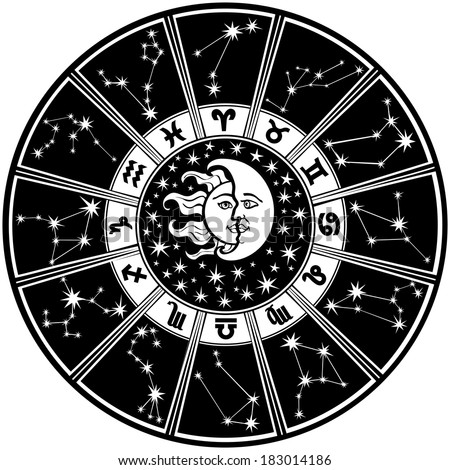 The Horoscope circle with  Zodiac signs and constellations of the zodiac.Inside the symbol of the sun and moon.Retro style.Black and white colors.Vector illustration - stock vector
