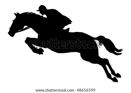 The horseman on a horse, overcoming an obstacle - stock vector
