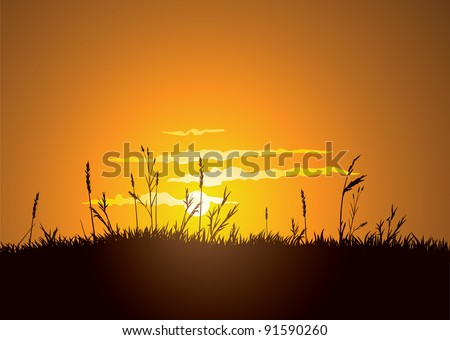 The hot glowing sun sets behind a grassy plain. CMYK color. Layer separated. - stock vector