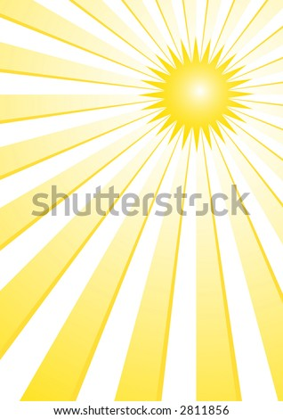 The hot summer sun background (vector, illustration) - stock vector