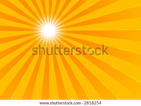 The hot summer sun - background (vector, illustration) - stock vector