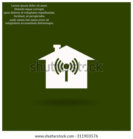 The house is surrounded by a network wi-fi. icon. vector design - stock vector