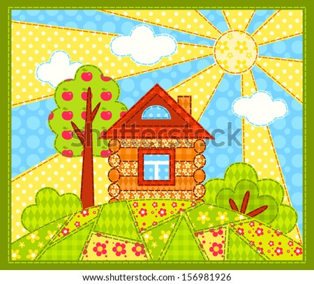 The house on the hill. Patchwork picture. Vector children illustration.