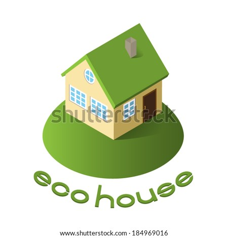 the house with a green roof - stock vector