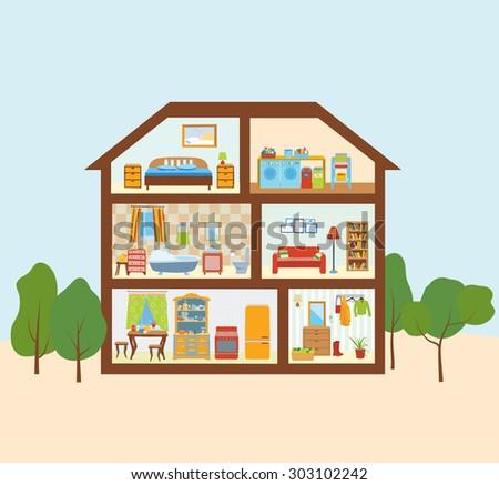 The house with a modern interior Cutaway.  Bedroom, kitchen, bathroom, laundry room, living room, hallway.Editable Vector  illustration - stock vector