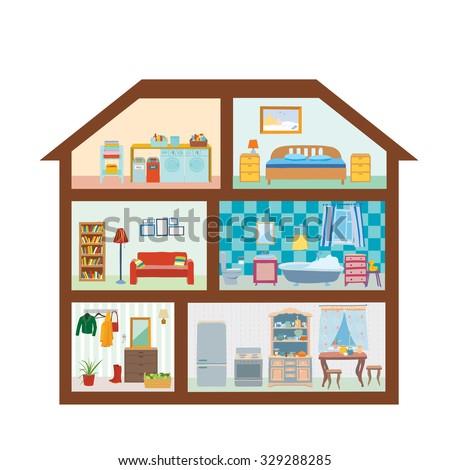 House modern interior cutaway bedroom kitchen stock vector - Living room bedroom bathroom kitchen ...
