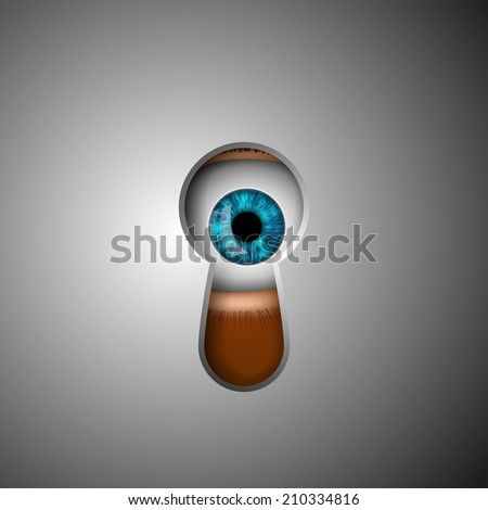 the human eye in the keyhole - stock vector