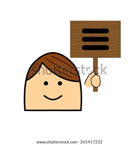 The icon on the wooden pointer - stock vector