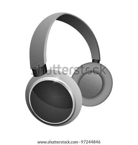 The icon with the headphones. Vector illustration
