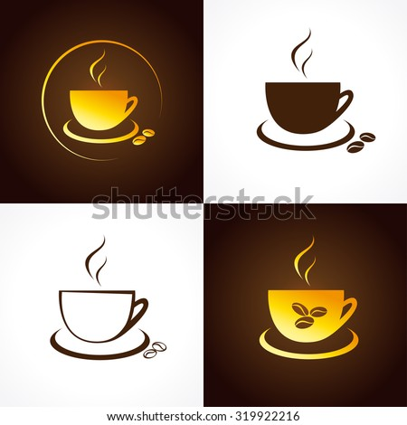 The icons with golden coffee beans for coffee houses and cafes. Cafe cup logo. - stock vector